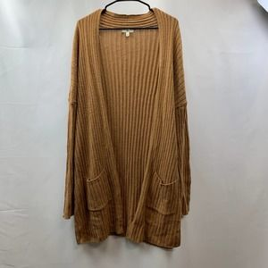 BP Open Front Ribbed Pocket Cardigan Sweater